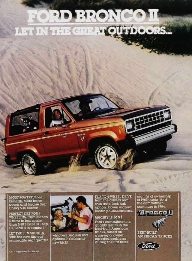 1984 Ford Bronco II ad.  We had one of these in Gun Metal Gray Metallic.