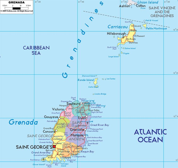 The 162 best map of every country in the world images on pinterest detailed clear large political map of grenada showing names of capital city towns states provinces and boundaries with neighbouring countries gumiabroncs Image collections