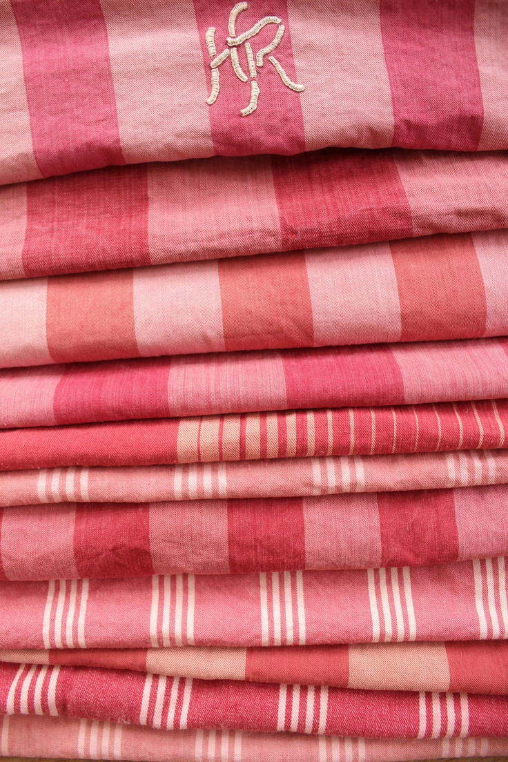 Antique Vintage French red pinks Ticking fabric ~ Project Bundle faded tones ~ | eBay