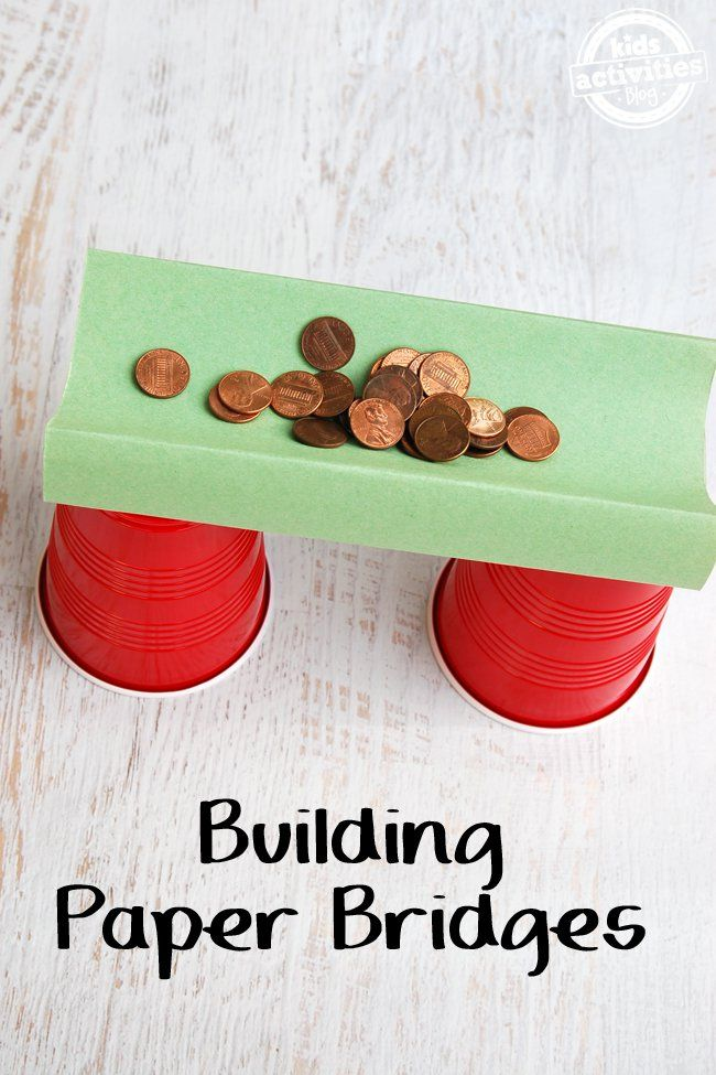Work on engineering by building paper bridges and then testing their sturdiness with coins. A great engineering project for kindergartners!