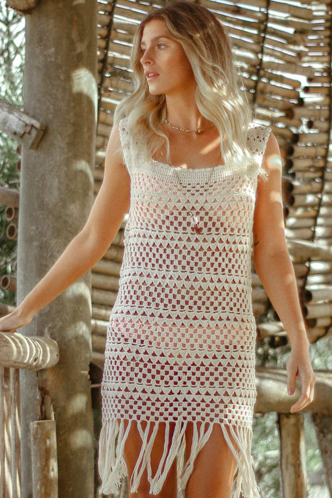 AURORA - White Crochet Dress - Hand made crochet cover-up dress with a swinging fringe skirt.