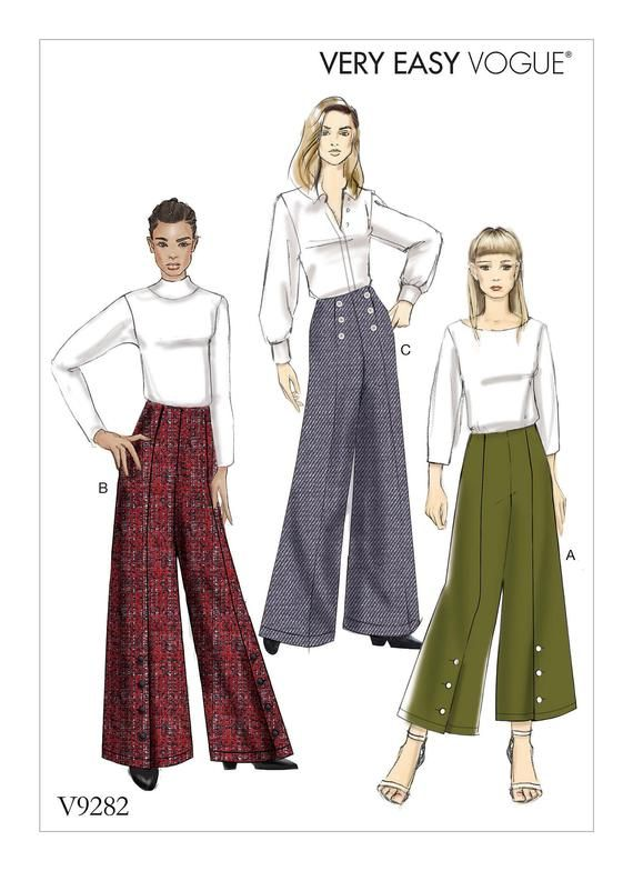 Sewing Pattern For Misses High Waisted Pants W Button Details