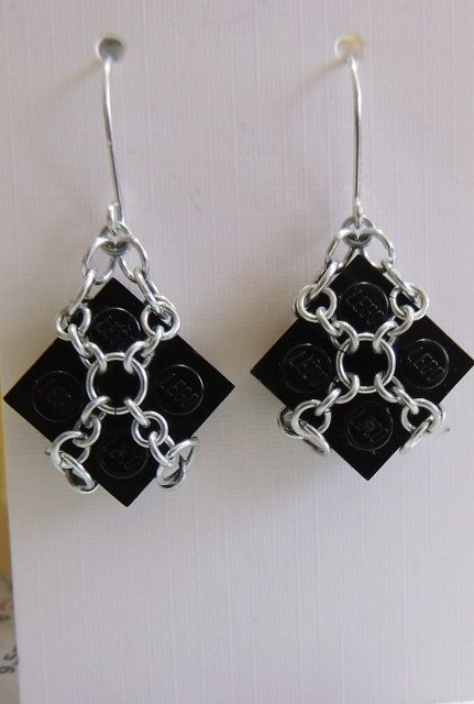 Black Lego Dangle Earrings with Aluminium by StarTideDesigns, $25.00