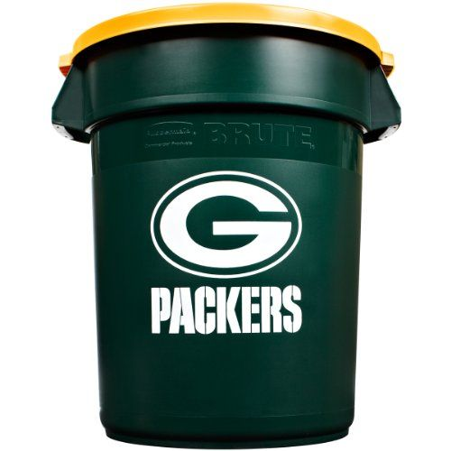 Green Bay Packers - Rubbermaid Commercial Team Brute 32-Gallon Trash Can and Lid | BRUTE Trashcans