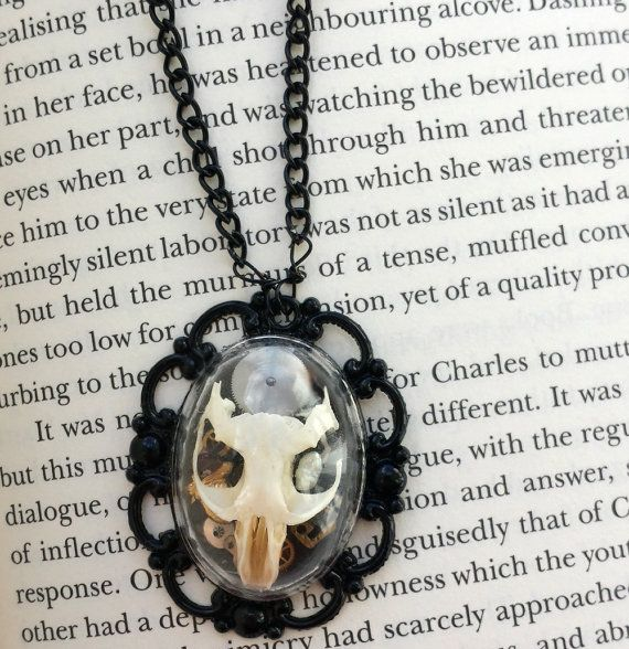 Black Rat Necklace Real Skull Taxidermy Memento Mori by cheshworth