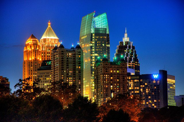 Atlanta's Midtown at the Blue Hour, HDR landscape by David Scruggs, via Flickr