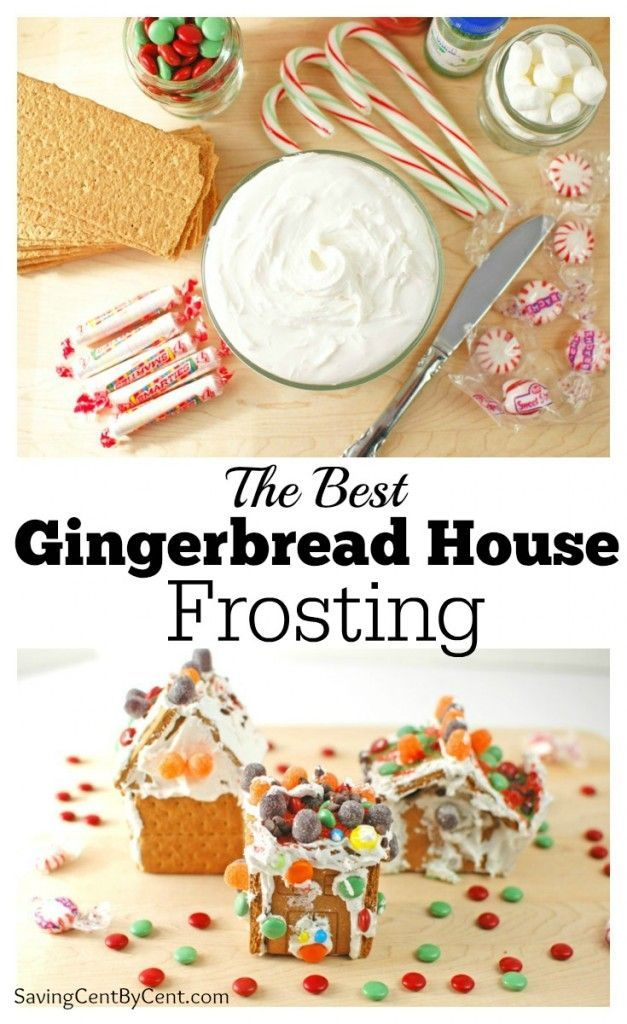 This gingerbread house frosting is only 3 ingredients and is the best frosting to hold the graham crackers together and keep the candies on the house.