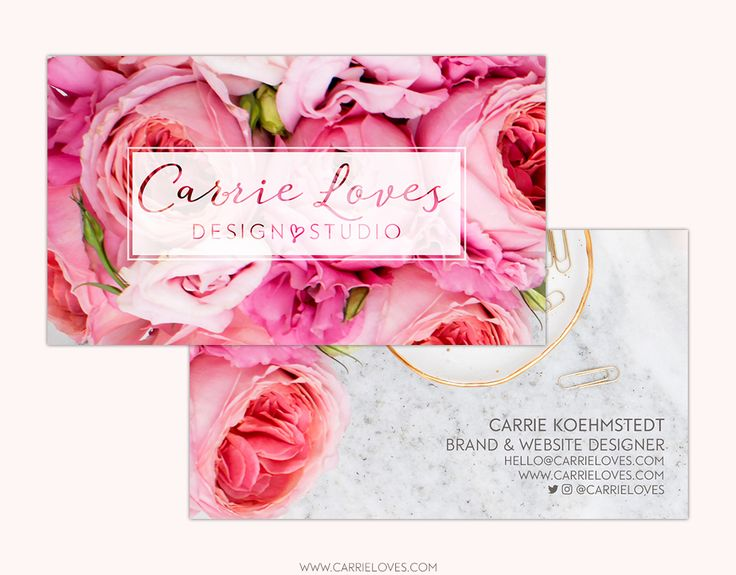 Floral Business Cards by Carrie Loves