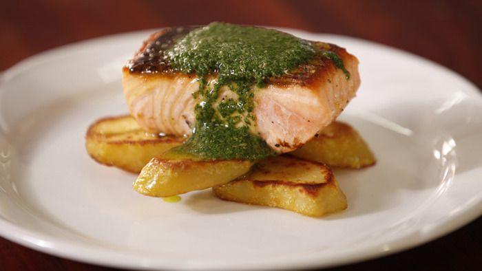 Crispy Skin Salmon with Mint Salsa Verde