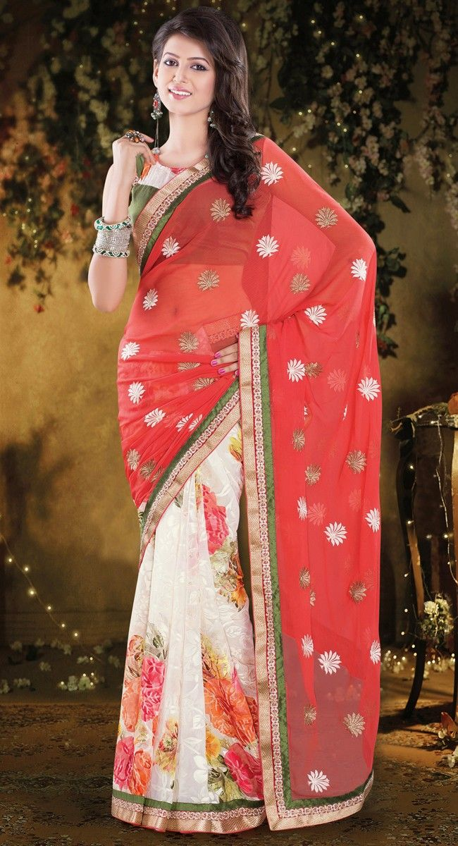 Alluring Red & Pale Cream Embroidered #Saree