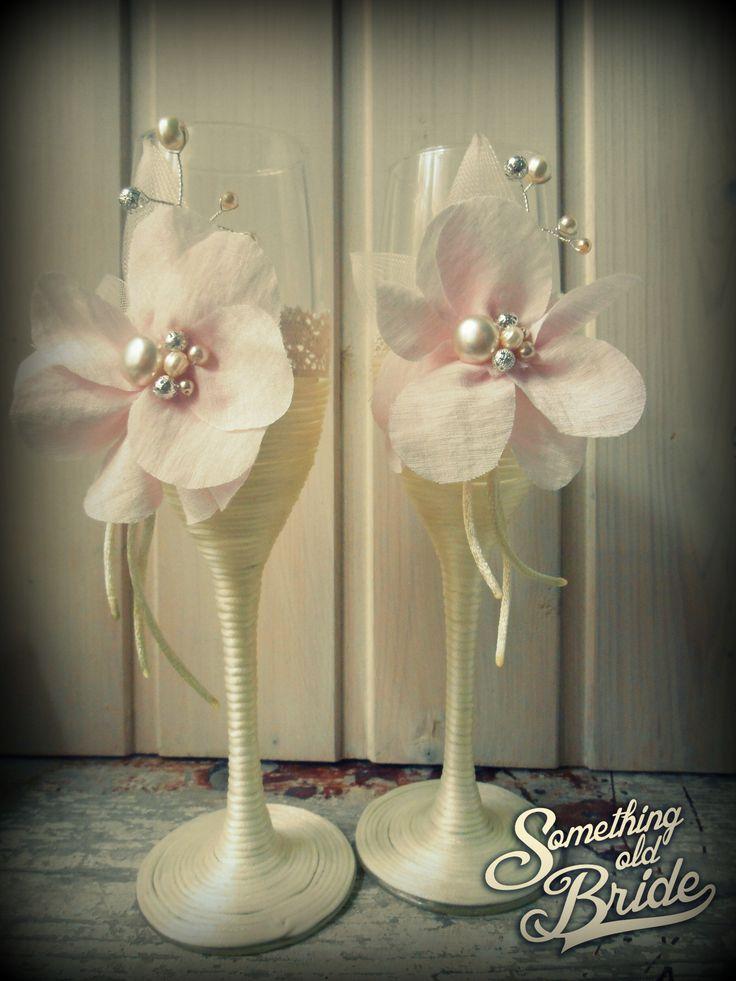 Vintage Wedding Glass Set with Floral and Pearl www.somethingoldbride Facebook/Something Old Bride