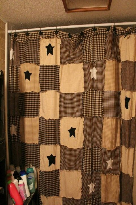 I want to make one of these. Primitive rag shower curtain