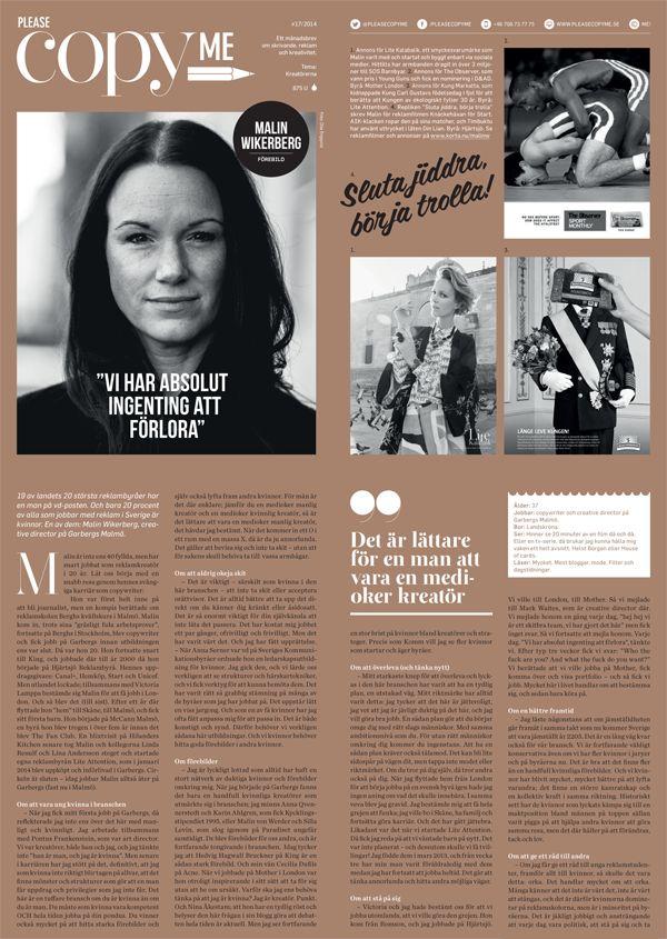 """Please copy me #17. Tema: Kreatörer. Malin Wikerberg, Garbergs Malmö: """"Vi har absolut ingenting att förlora"""". Rikke Jacobsen, Forsman & Bodenfors: """"Vad fan är en rubrik?"""" www.pleasecopyme.se"""