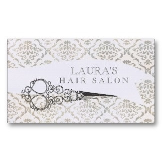 salon buisness card images | Vintage Wallpaper Scissors Hair Salon Business Business Cards