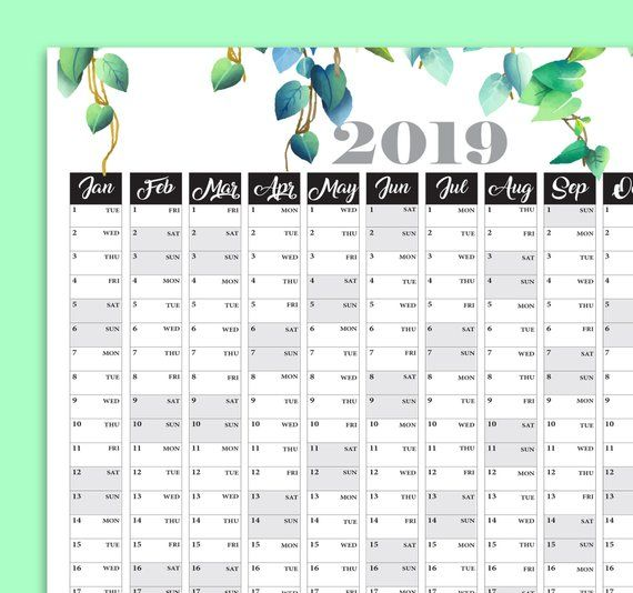 Yearly Calendar Large Wall Calendar Printable Planner 2019 Planner