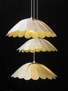 Fan Deckby David Walley: Flat pack shade made of birch plywood petals to fan out and hang. #Lighting #David_Walley