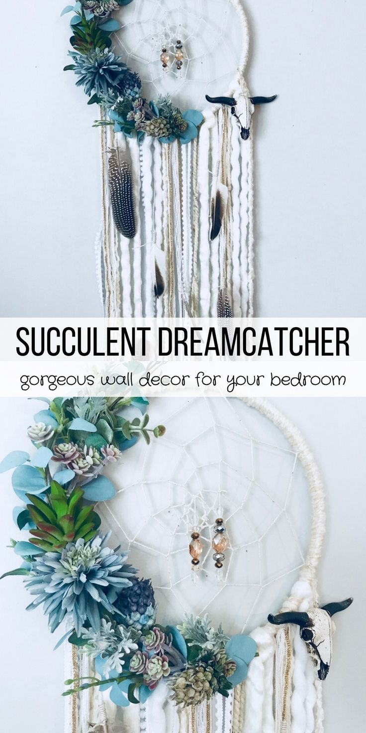 What a stunning succulent dreamcatcher! This adds such a boho vibe to any bedroom or nursery. Succulent Dreamcatcher, Boho Wall Decor, Floral Dream catcher, Dream catcher Wall Hanging, Nursery Wall Hanging, Bohemian Dreamcatcher #succulent #succulentlove #handmade #dreamcatcher #bohochic #bedroomdecor #wallhanging #ad
