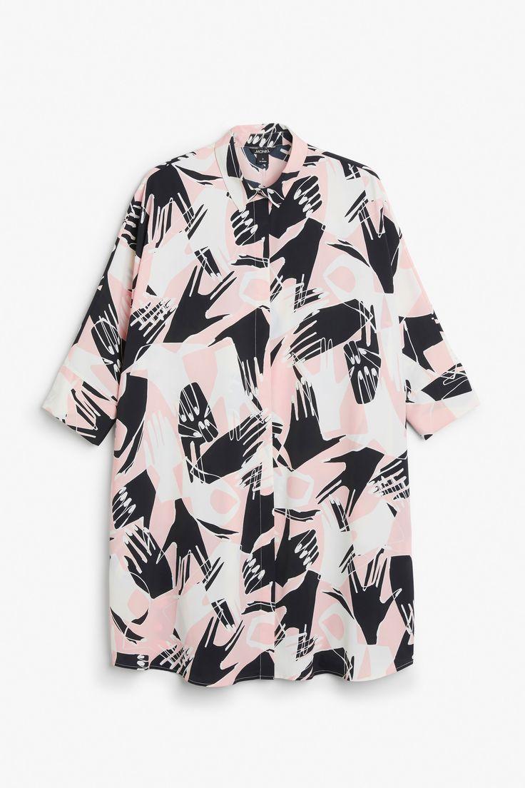 Monki Image 1 of Shirt dress in Pink Yellowish Light