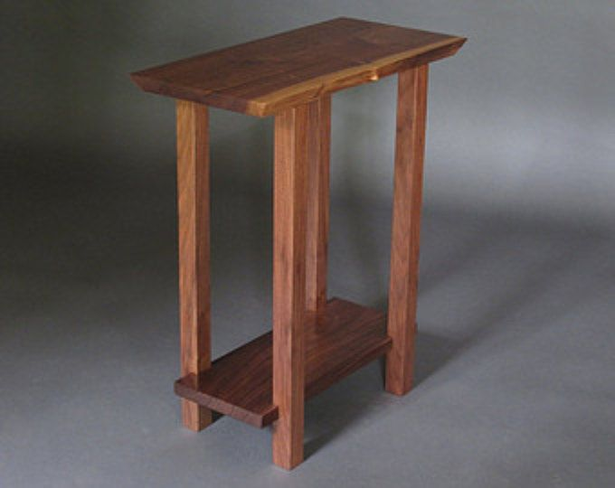 Good Small Table W/ Low Shelf  Narrow End Table, Live Edge Wood Furniture,