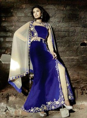#Blue #Jacket and #PantStyle Velvet #Lehnega An superb royal blue wedding wear pant style lehenga will make you look incredibly stylish and graceful.