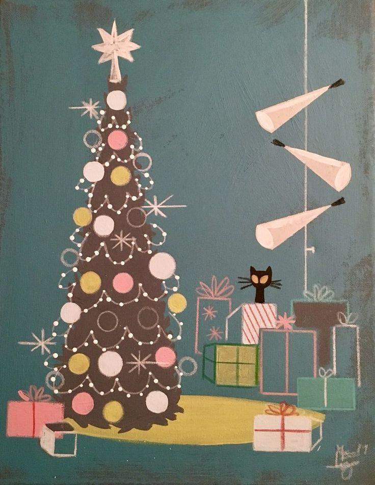 EL GATO GOMEZ PAINTING RETRO MID CENTURY MODERN CHRISTMAS TREE HOLIDAY CAT 50'S
