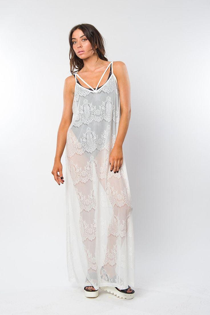 White lace kimono dress