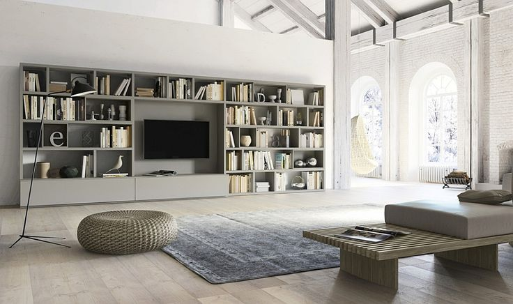 Living room wall unit with side panels, shelves, TV compartment and DVD shelf - Decoist
