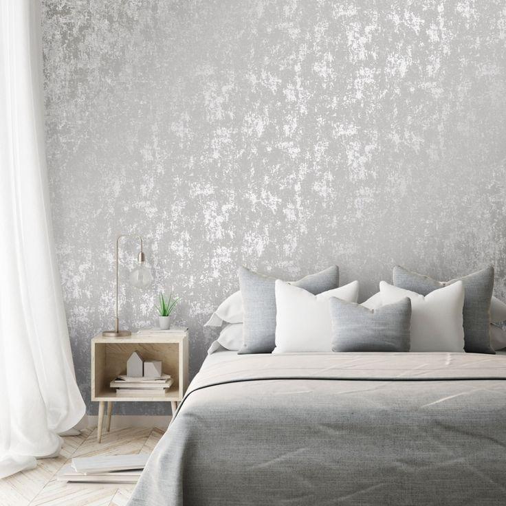 Milan Metallic Wallpaper Grey Silver In 2020 Grey Wallpaper Living Room Feature Wall Bedroom Grey Wallpaper Bedroom