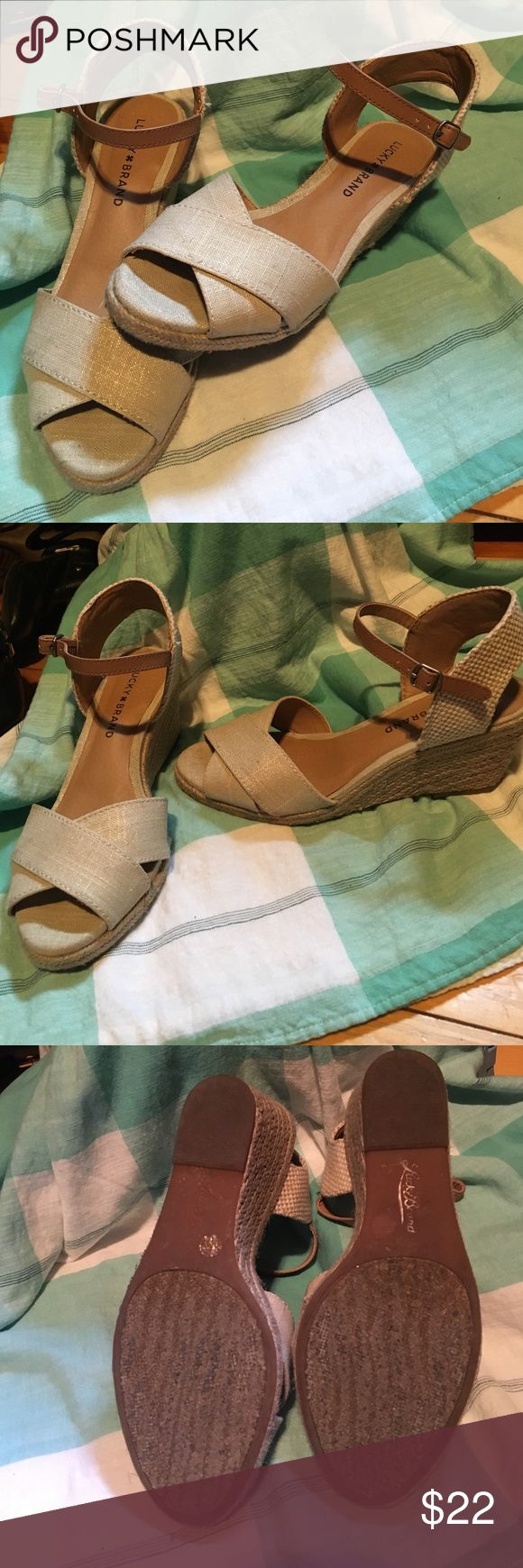 """Neutral espadrilles Perfect condition. Lucky 🍀 Brand espadrilles. 2 1/2"""" heel.  Worn once for about an hour.   Has a slight metallic sheen to them.  Box included Lucky Brand Shoes Espadrilles"""