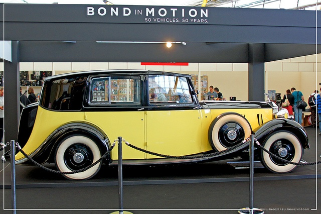 http://www.theestablishingshot.com/search/label/James%20Bond   Empire BIG SCREEN : Bond in Motion the cars of James Bond Exhibition - Auric Goldfinger's (Gert Frobe) 1937 Rolls Royce Phantom III from Goldfinger by Craig Grobler, via Flickr