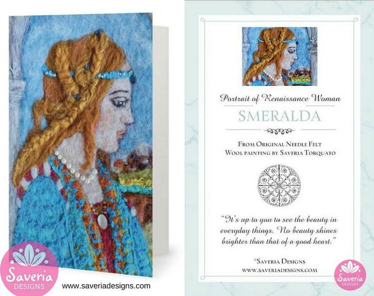 Smeralda Renaissance Card with Inspirational Quote Insert By Saveria Designs