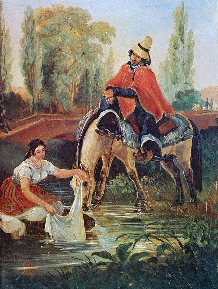 EL HUASO Y LA LAVANDERA,  Óleo sobre Tela 30 x 23 cm Museo Nacional de Bellas Artes, Santiago, chile