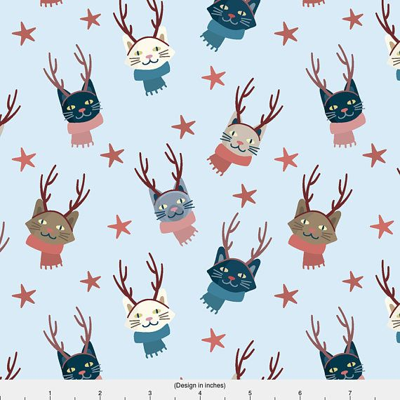 Christmas Cats Fabric  Christmas Winter Hipster Snow Kittens