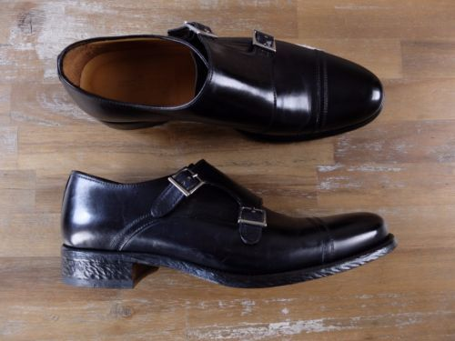 auth KITON Napoli black double monk shoes - Size 8 US / 7 UK / 41 EU