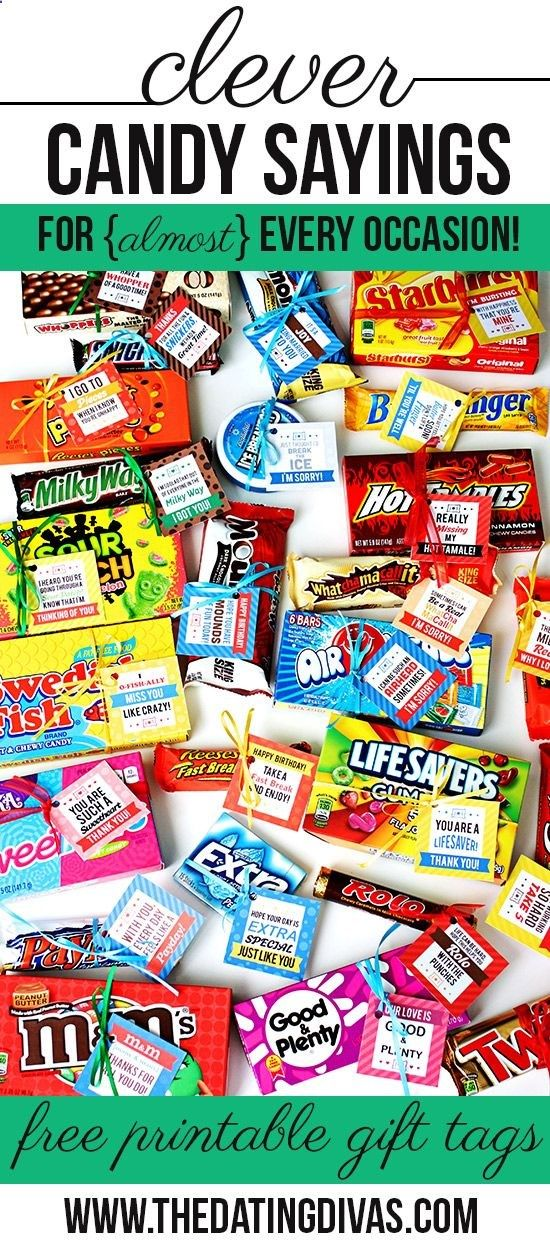 Clever Candy Sayings for almost Every Occasion! I know many say no intrinsic motivation, but these sure would be cute to hand out as prizes for extra effort on occasion. :)