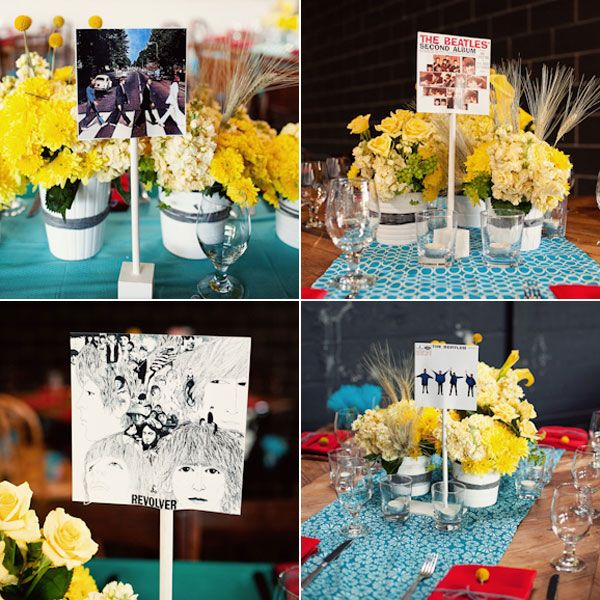 Each table was named after an album! And I love the yellow flowers. :)