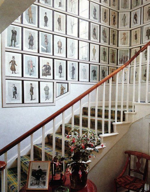 Vanity Fair Men of the Day caricature prints circa 1890 line the staircase wall. They are often called Spy Prints.: Fair Spy Prints, Vanities Fair, Vanity Fair, Vintage Vanity, Tartan Stairs, Fair Prints, Wall Galleries, Interesting Ideas, Wall Gallery