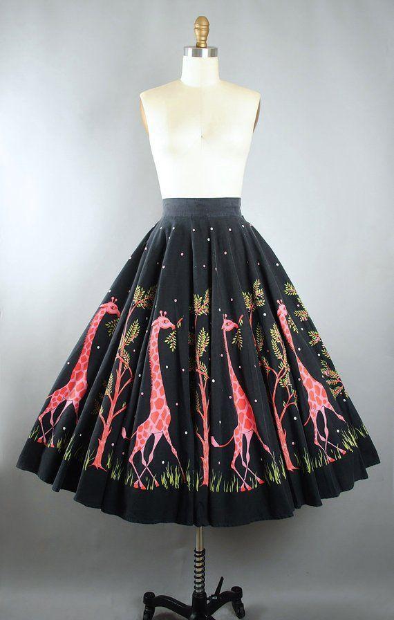 Vintage Rare 50s Novelty Print Inverted Pleat Skirt