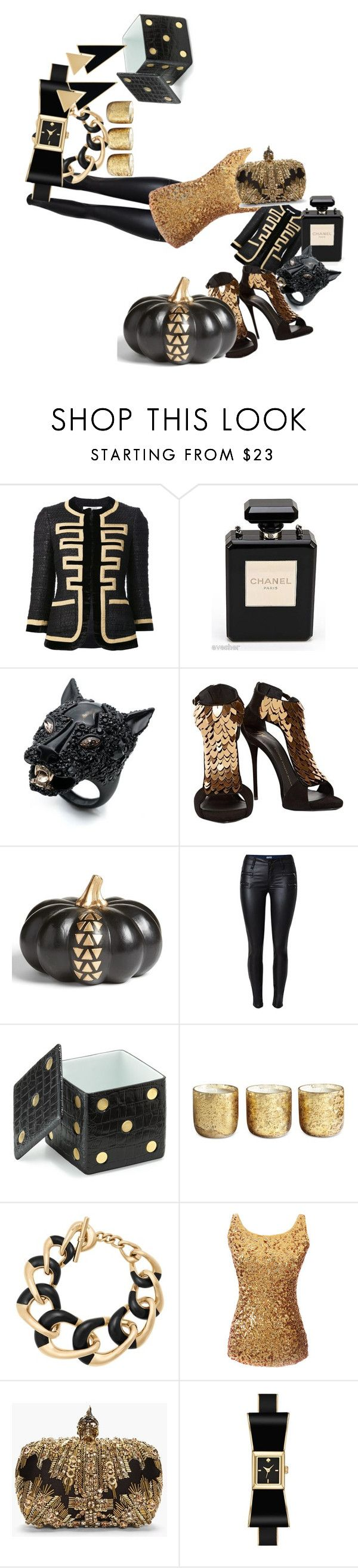 """#black_gold"" by margosedih ❤ liked on Polyvore featuring Givenchy, Chanel, Alexis Bittar, Giuseppe Zanotti, Levtex, L'Objet, Illume, Michael Kors, Alexander McQueen and Kate Spade"