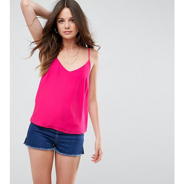 ASOS TALL Woven Cami Top with Double Layer (14 AUD) ❤ liked on Polyvore featuring tops, pink, layering camisole, camisole tops, pink tank, pink cami and camisole tank top
