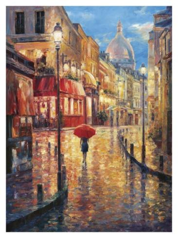 Montmartre Evening Print by Haixia Liu at Art.com