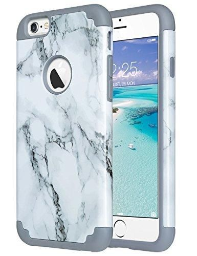 iPhone 6S CaseiPhone 6 Case ULAK Slim Dual Layer Protective Case Fit for Apple iPhone 6 (2014) / 6S 4.7 inch (2015) Hybrid Hard Back Cover and Soft SiliconeMarbleGrey