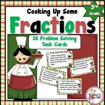 Cooking Up Some Fractions has students solving word problems and practicing fraction skills. This little unit includes 30 word problem task cards. #math #fractions $
