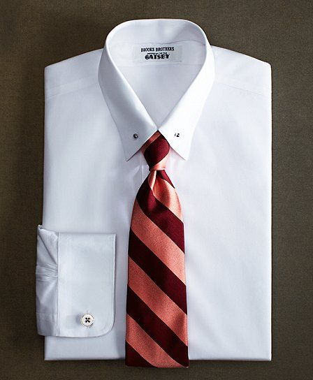The great gatsby collection supima cotton non iron slim for Pin collar shirt double cuff