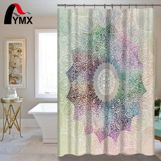 Indian Mandala Shower Curtain Lotus Printed Bohemian Waterproof