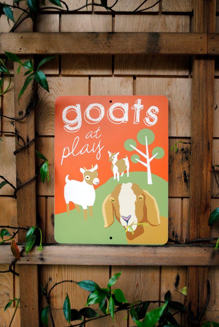 Goats+at+Play+Outdoor+Sign+9+x+12+by+BainbridgeFarmGoods+on+Etsy,+$25.95