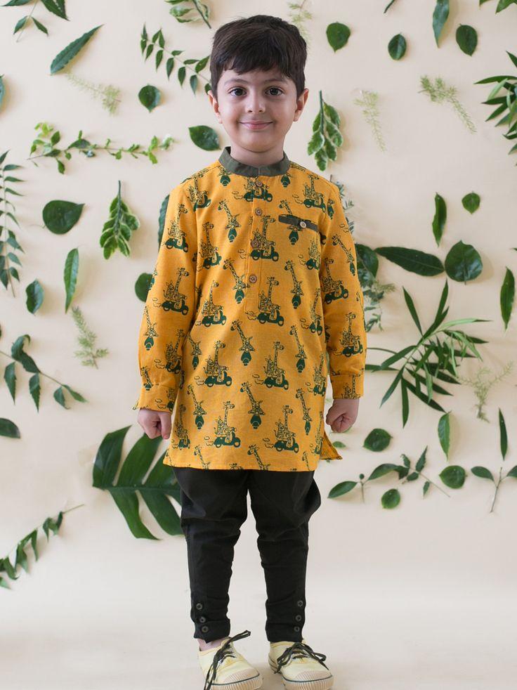 Buy Mustard Yellow Jungle Print Kurta Shirt