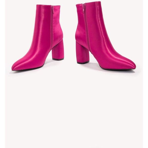 NA-KD Shoes Shiny Ankle Boots ($64) ❤ liked on Polyvore featuring shoes, boots, ankle booties, pink ankle boots, zipper ankle boots, pink booties, pointed toe ankle boots and short boots