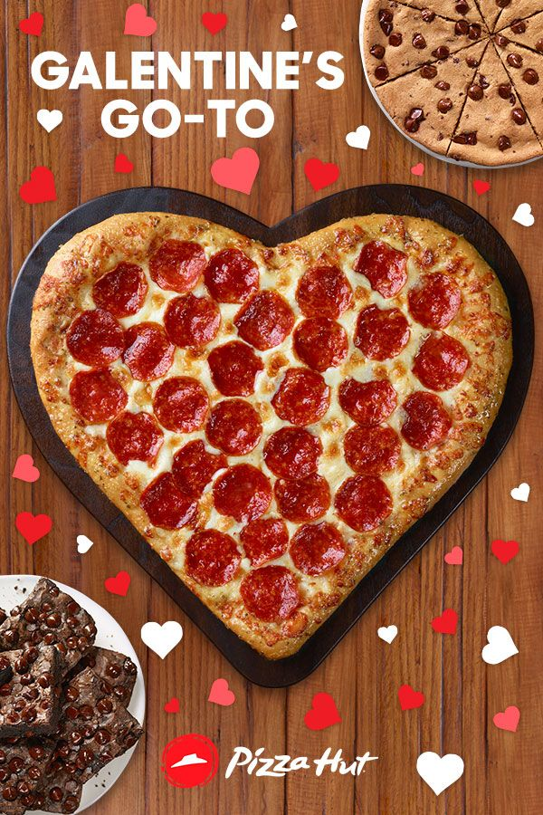 One bite and you'll melt. Host the ultimate Galentine's party with a Heart-Shaped pizza and your choice of HERSHEY'S® dessert; a chocolate brownie or chocolate chip cookie. Order online from Pizza Hut.
