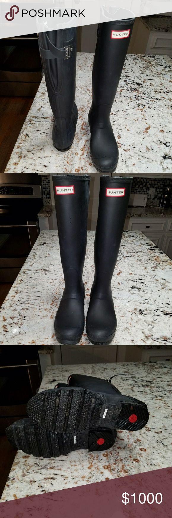 Tall Hunter Boots Tall wide calf Hunter boots worn twice. Shoes Winter & Rain Boots
